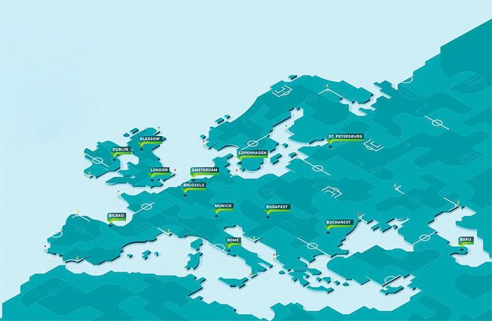 Mapa miast gospodarzy Euro 2020