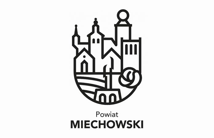 Logo powiatu miechowskiego w wersji czarno-białej