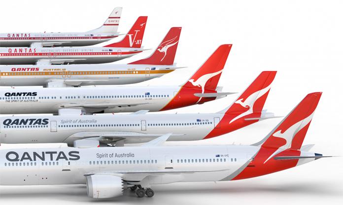 Ewolucja logo Qantas