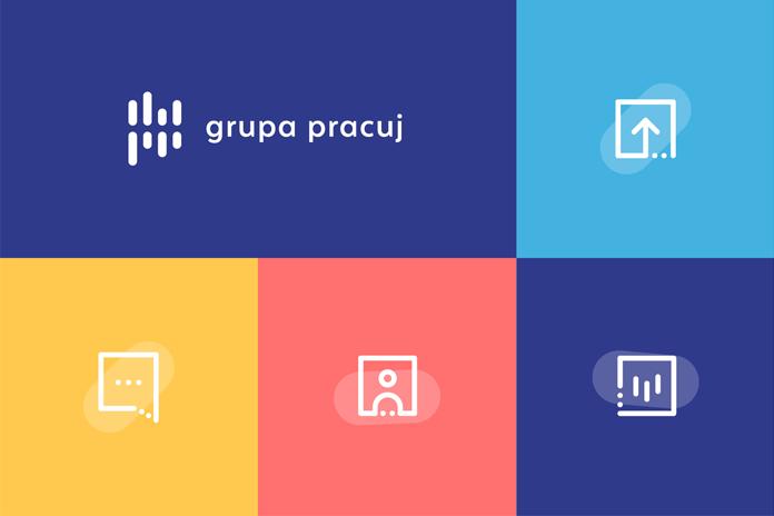 Paleta barw nowej tożsamości wizualnej Grupy Pracuj