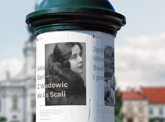 Wizualizacja nowego logo Wadowic na plakacie