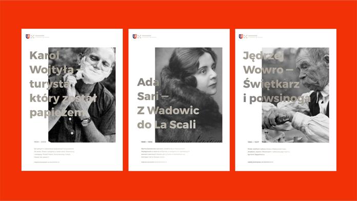 Projekt plakatów z nowym logo Wadowic