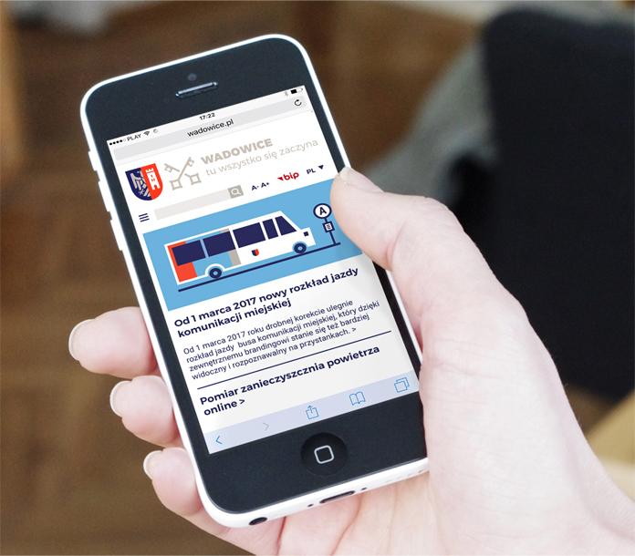 Wizualizacja mobilnej strony Wadowic