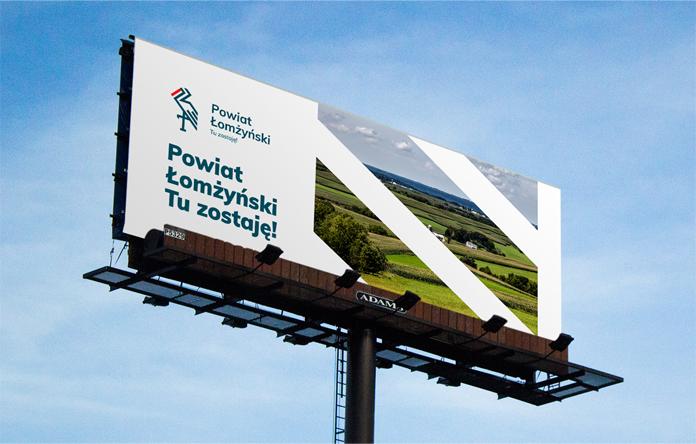 Billboard z nowym logo powiatu łomżyńskiego