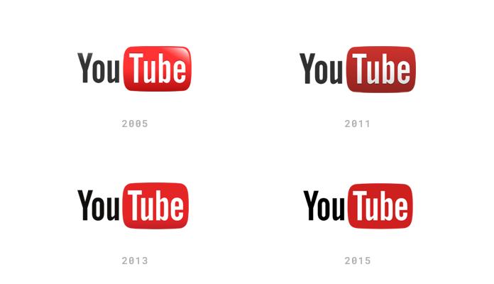 Ewolucja logo YouTube od 2005 roku
