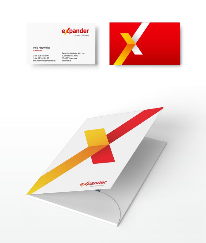 Akcydensy z nowym logo Expandera - wizytówka i teczka