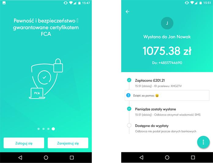 Zrzuty interfejsu aplikacji Azimo 2017