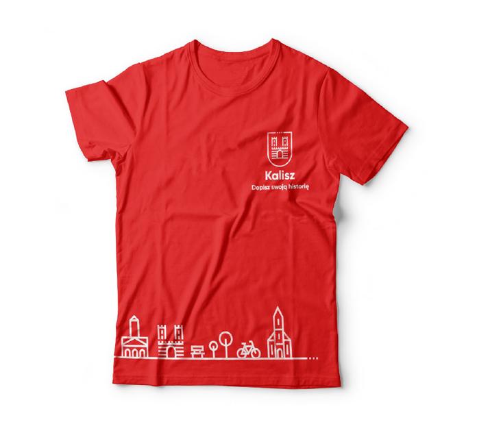 Czerwona koszulka z motywem miejskim Kalisza
