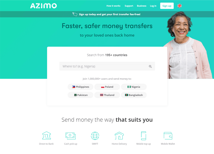 Fragment nowej strony Azimo
