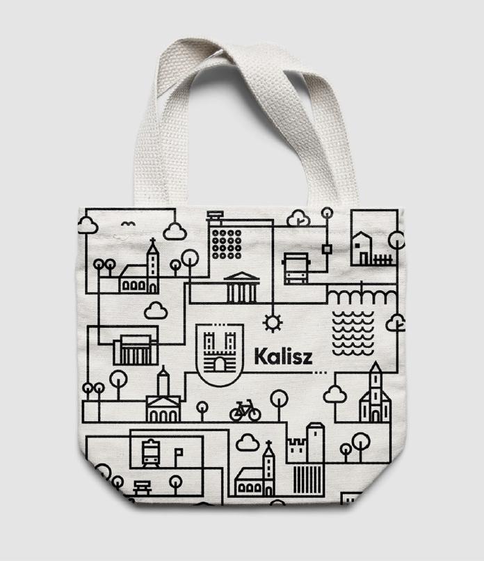 Wzór uzupełniający identyfikację wizualną Kalisza - torba