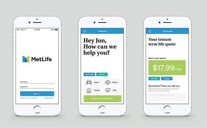 Projekt aplikacji MetLife po rebrandingu
