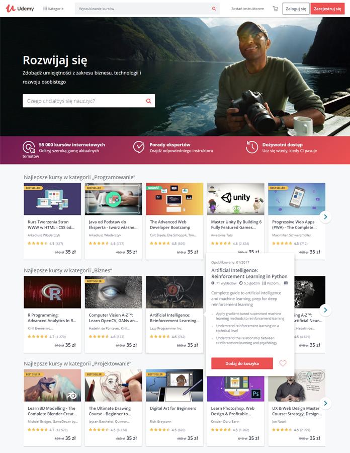 Nowa strona internetowa Udemy - rebranding
