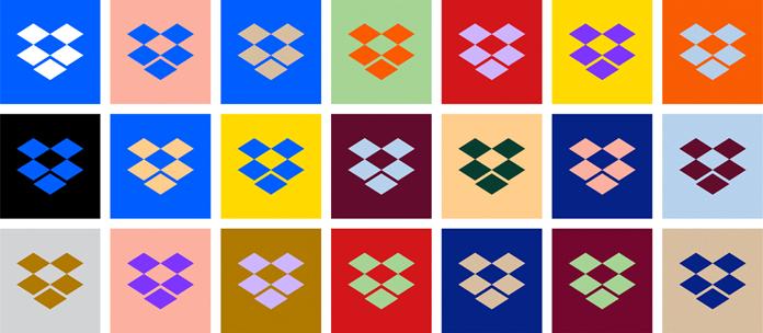 Odmiany kolorystyczne odświeżonego logo Dropbox