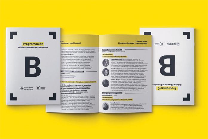 Rebranding Bibliotek Miejskich Walencji - wizualizacja broszur