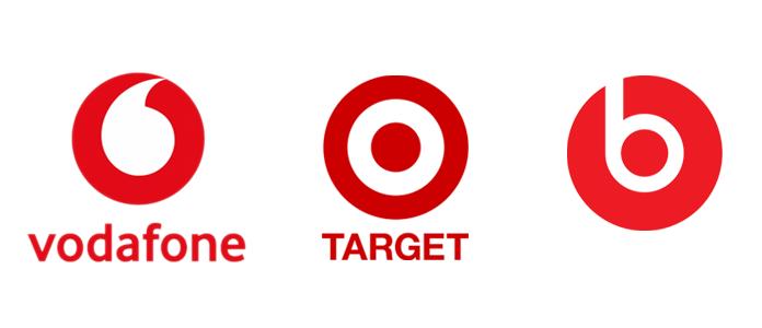 Przykłady znaków z motywem koła - Vodafone, Target, Beats