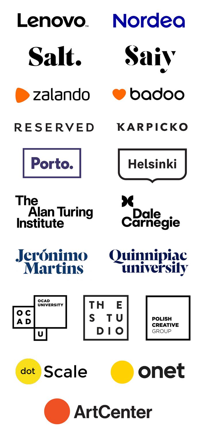 Minimalilstyczne znaki czarno-białe oparte na logotypie