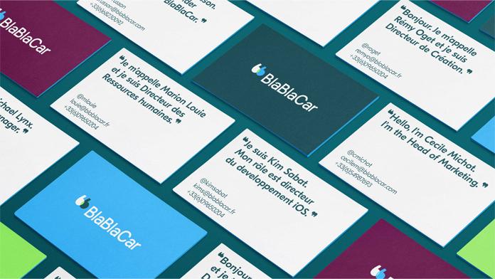 Wizytówki z nowym logo BlaBlaCar