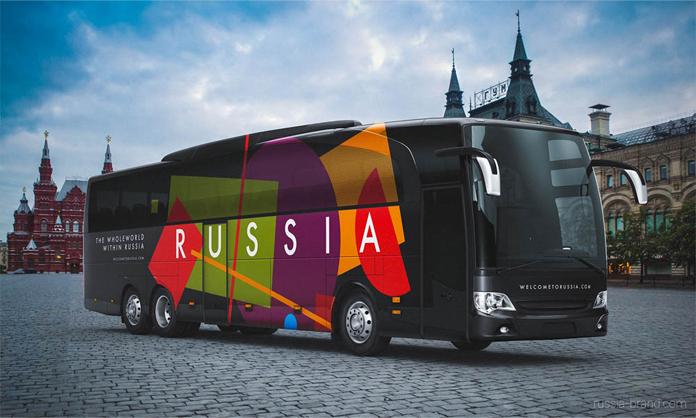Identyfikacja wizualna Rosji - autobus z nowym logo