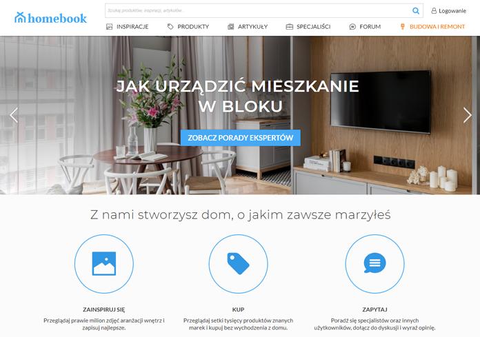 Strona internetowa Homebook po rebrandingu
