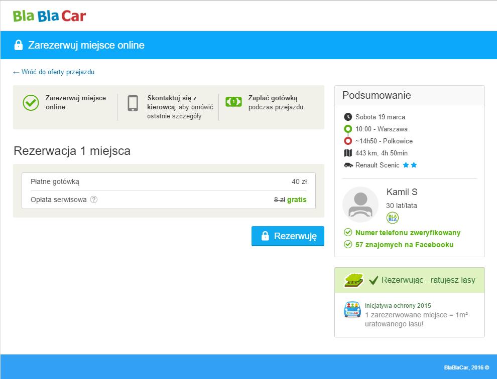Dotychczasowy wygląd strony BlaBlaCar