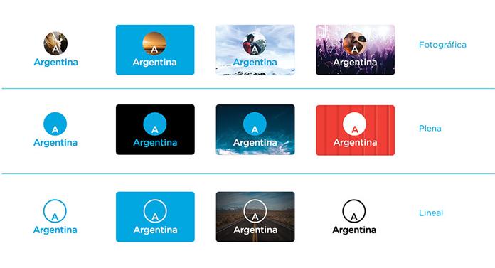 Warianty nowego logo Argentyny w użyciu