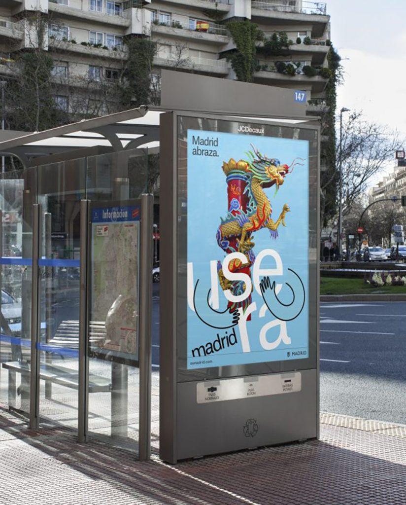 Przykład nowego logo Madrytu na plakacie