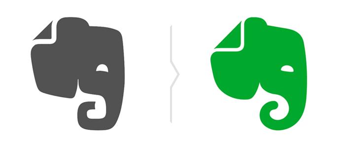 Porównanie sygnetów w logo Evernote