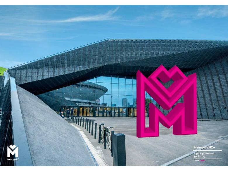 Wizualizacja logo Metropolii GZM w przestrzeni