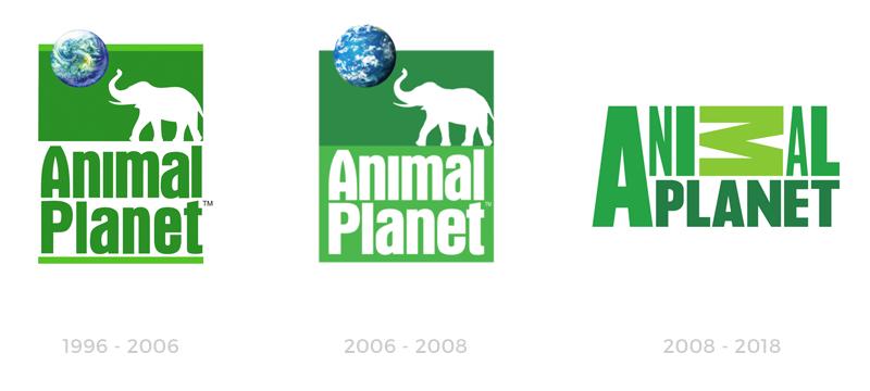 Ewolucja znaków Animal Planet od 1996 roku