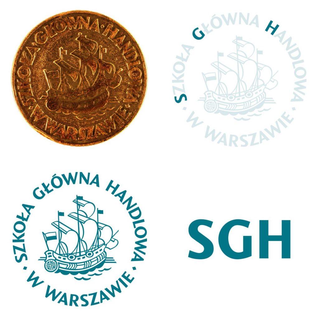 Pieczęć, herb i nowe logo Szkoły Głównej Handlowej w Warszawie