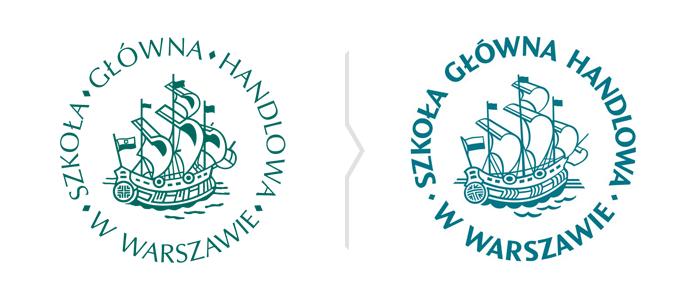 Porównanie symboli SGH - stare i nowe logo