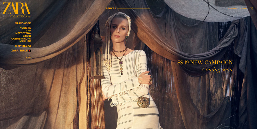 Nowa strona internetowa Zara - rebranding