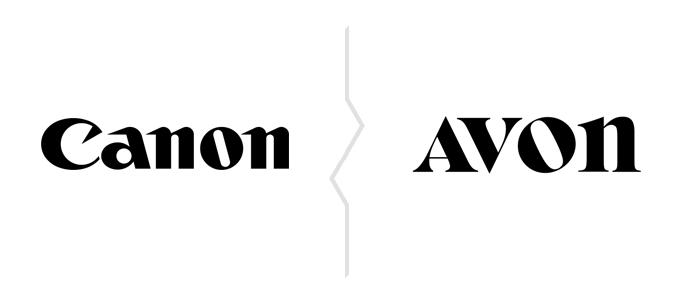 Porównanie logo Canon i nowego logo Avon