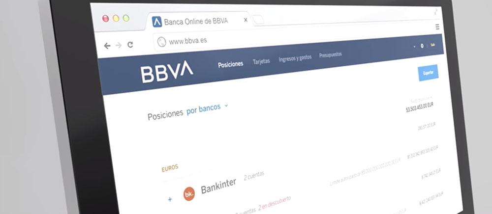 Logo BBVA na wizualizacji strony internetowej