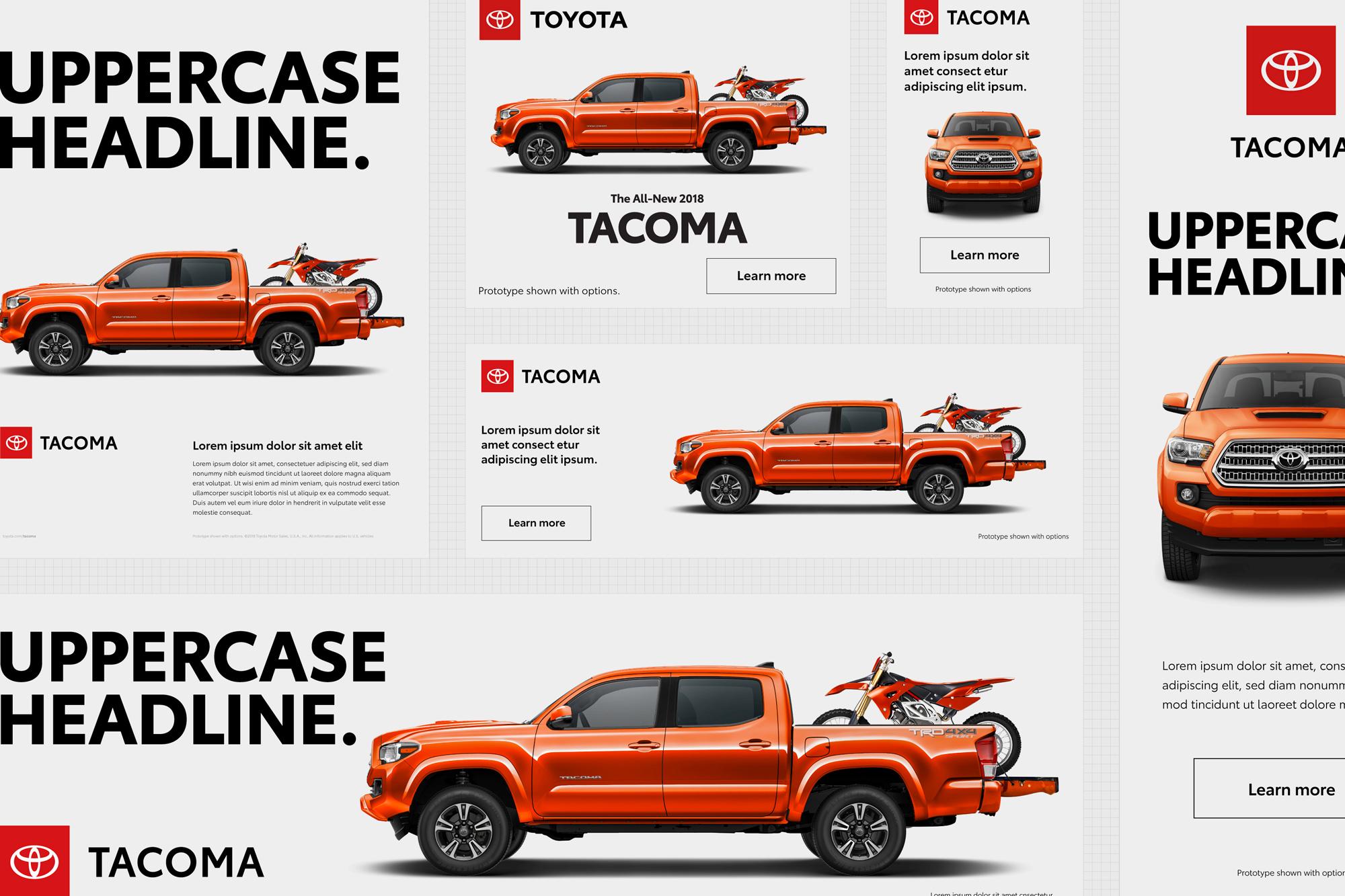 Układ elementów w identyfikacji wizualnej Toyota - rebranding 2019