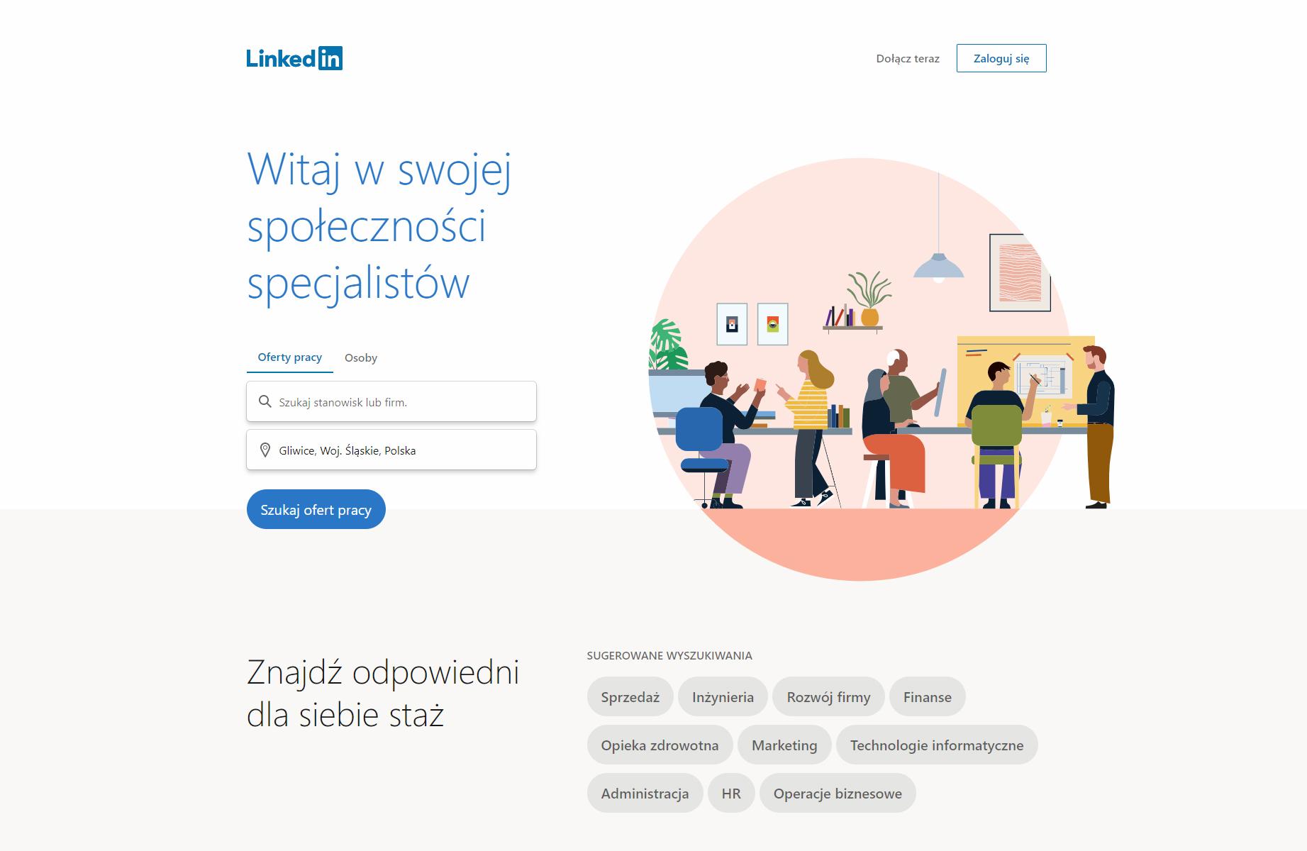 Nowe strona logowania Linkedin 2019